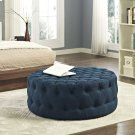 Amour Upholstered Fabric Ottoman in Azure Product Image