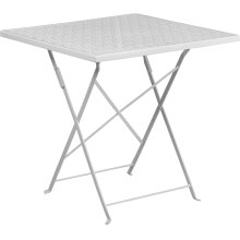 "Commercial Grade 28"" Square White Indoor-Outdoor Steel Folding Patio Table"