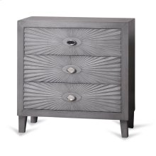 Grey Wooden Starburst Chest  33in X 32in X 16in  Three Drawer Chest