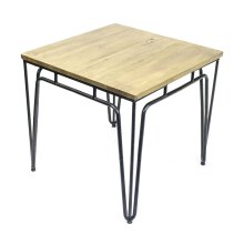 Metal Accent Table W/ Natural Wood Top, Black