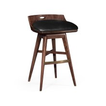 Bar Stool upholstered in Black Leather