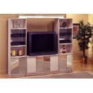 TV STAND - CHAMPAGNE/BRASS HOME THEATER / MIRROR DOORS Product Image