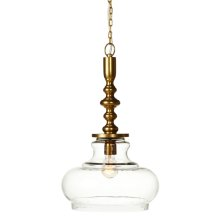 Curved Dome Pendant with Brushed Gold Spindle Top. 40W Max. Hard Wire Only.