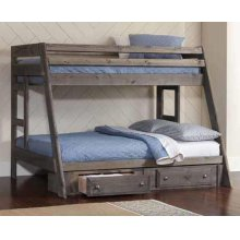 Twin / Full Rustic Wood Bunkbed (Storage Sold Separate Refer to Item # 400830WITH400832)