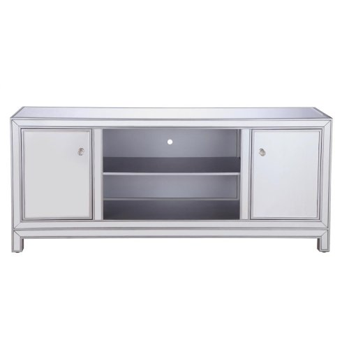 """Sleek and vibrant, this contemporary media cabinet will make a striking statement in any room. The cabinet top can showcase up to a 60"""" flat screen TV at a perfect height, featuring top-quality mirror panel in hand-rubbed silver finish, square crystal knobs. Functional and chic, it features 2 soft-closing side doors, center opening and shelvings […]"""