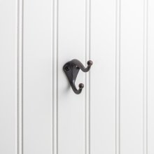 "2-5/16"" Double zinc wall mount coat hook."