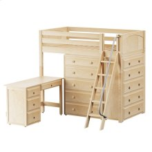 High Loft w/ Angle Ladder, 2 x5 Drawer Dressers & Desk : Twin : Natural : Panel