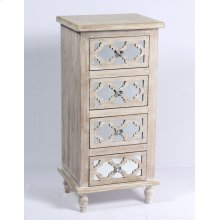 4 Drawer Accent Cabinet-weathered Wood Finish W/mirror Accent Su