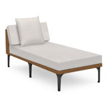 "32"" Outdoor Tan Rattan Sofa Lounger Sectional, Upholstered in COM"