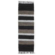 Black, Grey and White Striped Leather Chindi 2 'x 6' Rug (Each One Will Vary)