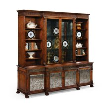 Large Breakfront Walnut & glomise Cabinet