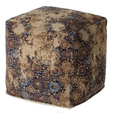 Tan & Navy Multi Medallion Jacquard Pouf
