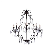 """1132 Charlotte Collection Wall Lamp W:33.5"""" H:43.5"""" E30.5"""" Lt:5 Antique Bronze Finish (Royal Cut Crystals)"""