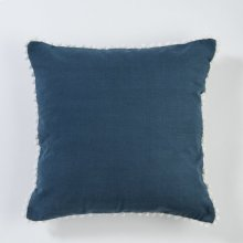 Pom Pom Pillow - Navy
