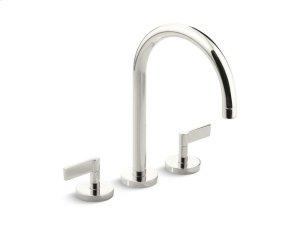 Deck-Mount Bath Faucet, Gooseneck Spout, Lever Handles - Nickel Silver Product Image
