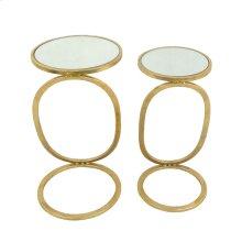 Ec, S/2 Gold Accent Tables, Mirror Top