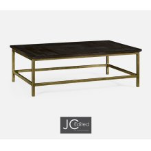 Dark Ale Rectangular Coffee Table with Iron Base