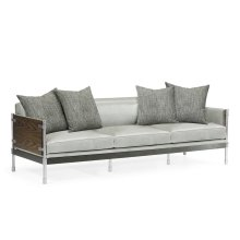 Campaign Style Dark Santos Rosewood Sofa, Upholstered in Grey Leather