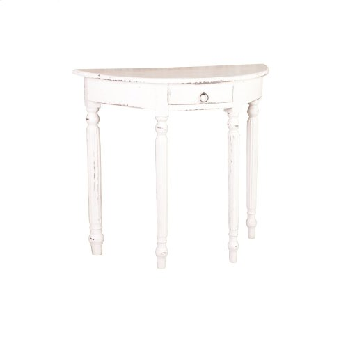 CC-TAB2272LD-WW  Rounded Front Console Table  Distressed White