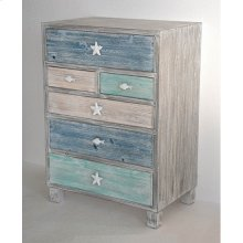 Key West Grey Driftwood and Multi Color Nautical 6 Drawer Chest