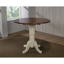 DLU-ADW4242CB-AW  Round Drop Leaf Pub Table  Antique White with Chestnut Top