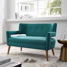 Sheer Upholstered Fabric Loveseat in Teal