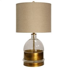 Mid-Field Glass Body Table Lamp Wrapped & Accented in Old Gold with Hardback Shade