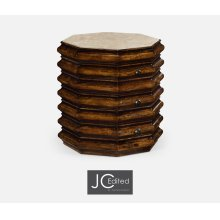 Octagon Rustic Walnut End Table