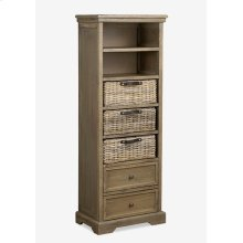 (LS) Simone Tall Bookcase (2 Drawers+3 Baskets+ 2 Shelves)-Grey (19X11X53)