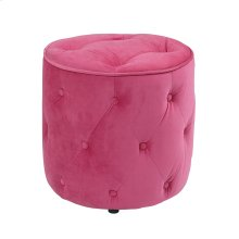 Curves Tufted Round Ottoman In Pink Velvet