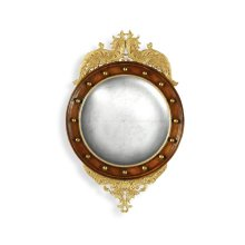 Regency walnut & gilt round convex eglomise mirror (Small)