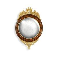 Regency Walnut & Gilt Round Convex glomise Mirror (Small)