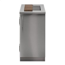 "OUTDOOR KITCHEN CABINETS IN STAINLESS STEEL  PURE 18"" Sink Cabinet SmartStation Walnut 1 Door Right Hinges"