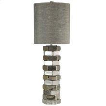 SELBY TABLE LAMP  Chrome Finish on Ceramic Body with Crystal Base  Hardback Shade  150 Watt  3-W