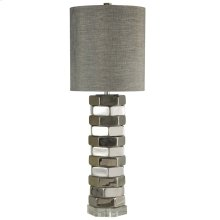 SELBY TABLE LAMP  Chrome Finish on Ceramic Body with Crystal Base  Hardback Shade  150 Watt  3-W