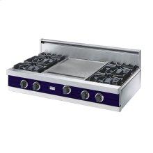 """Cobalt Blue 42"""" Open Burner Rangetop - VGRT (42"""" wide, four burners 18"""" wide griddle/simmer plate)"""