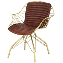 Isaac Leather Chair Gold Frame, Ale Brown