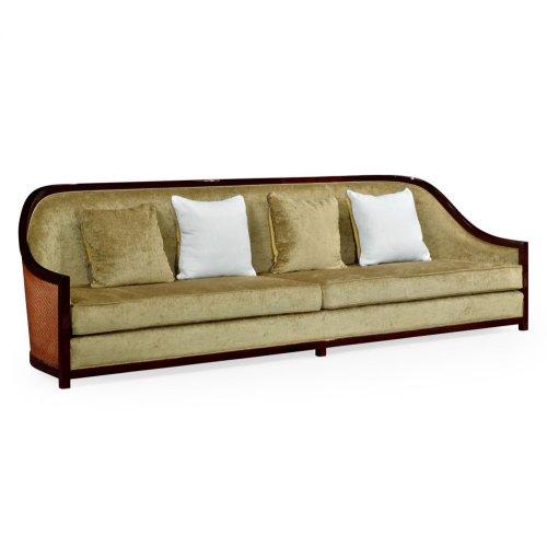 "110"" Sofa in Sonokelling & Rattan, Upholstered in COM"
