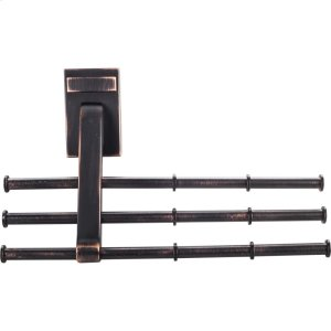 Screw Mounted Tie/Scarf Rack. Holds 12 Ties/Scarfs. Mounting Hardware is Hidden. Arms Can Be Changed for Left or Right Mounting Product Image