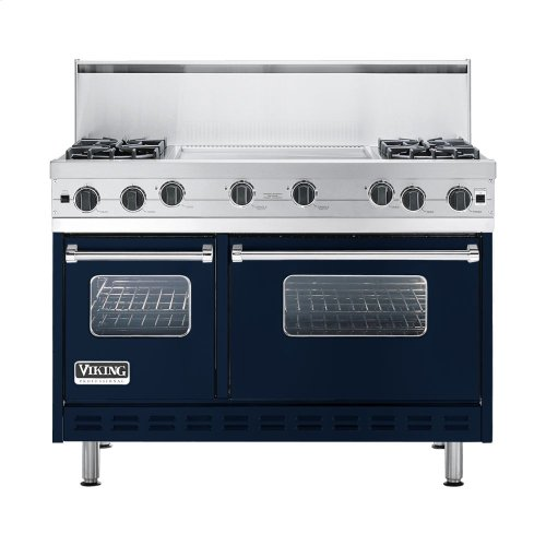 """Viking Blue 48"""" Open Burner Commercial Depth Range - VGRC (48"""" wide, four burners 24"""" wide griddle/simmer plate)"""