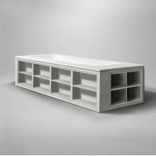 "amanpuri2 blustone bathtub for two-sided shelving, White matte, 79""x37 3/4""x21 3/4"""