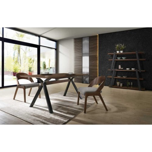 Modrest Runyon Modern Walnut & Grey Fabric Dining Set