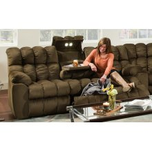 Brayden - Reclining Sofa w/Table, Lights and Storage Drawer - Umber