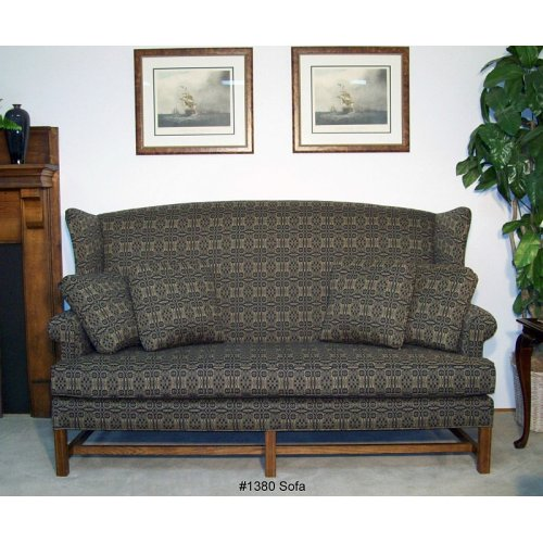 High Back Sofa Oak Finish Chippendale Base - One Cushion