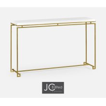 Gilded Iron Large Console Table with Biancaneve Top