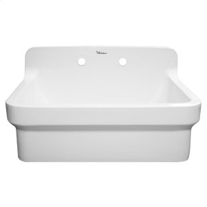 "Old Fashioned Country Fireclay Utility Sink with High Backsplash, 8"" pre-drilled holes for a wall mount faucet, and 3 1/2"" rear center drain. Product Image"