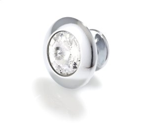 Round Crystal, Bright Chrome, Knob, 30mm Overall Product Image