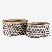 Patterned Woven Containers - Set of 2 - Grey & White
