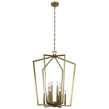 "Abbotswell 30"" 12 Light Foyer Chandelier Natural Brass"