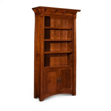 MaRyan Bookcase, Wood Doors on Bottom, M Ryan Bookcase, Wood Doors on Bottom, 3-Adjustable Shelves
